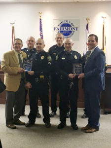 Tim Manchin, Officer Hudson, Officer Freme, Taylor Downs Award Presentation